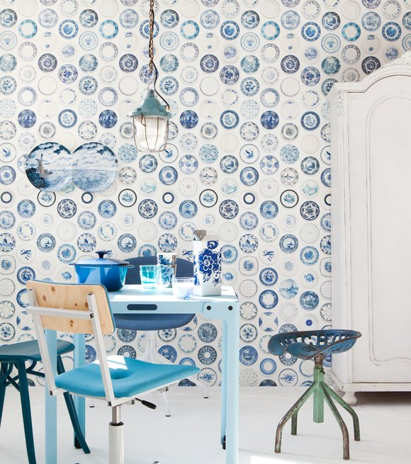Delfts Blauw Keuken : porselein behang