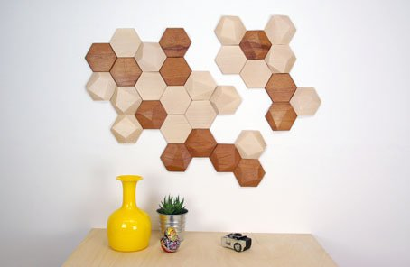 Muurdecoratie Van Hout.Bee Apis Houten Tegels Voor Muurdecoratie Interieur Website